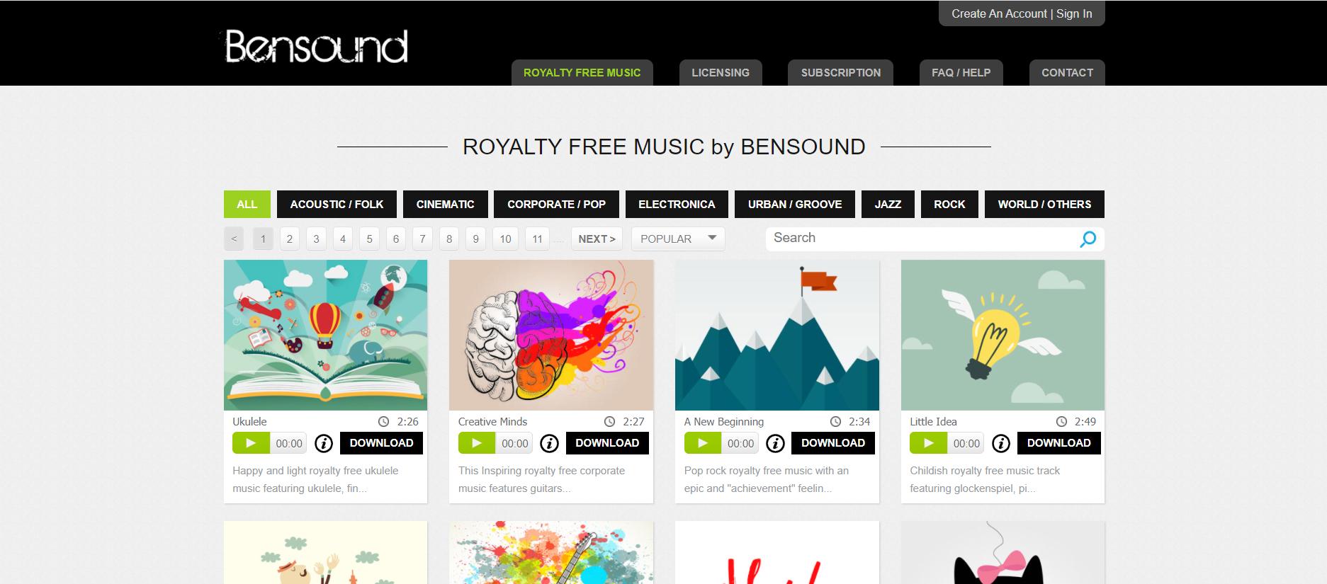 Bensound免版权音乐素材网站