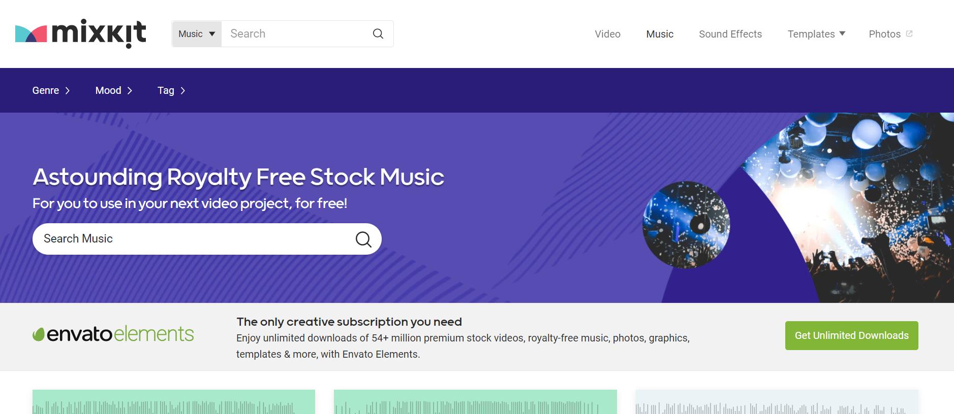 Mixkit Music音乐视频素材下载网站